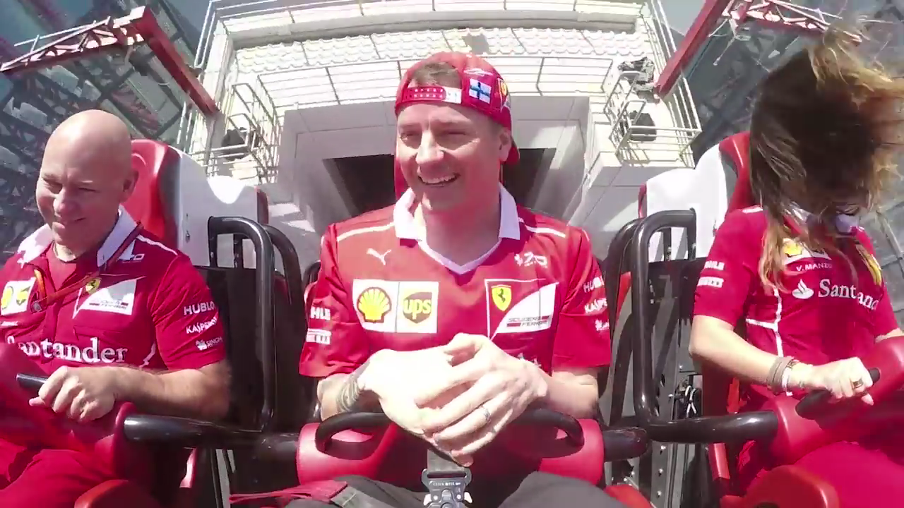 Kimi Raikkonen Actually Smiled In Ferrari World's New Backwards Rollercoaster