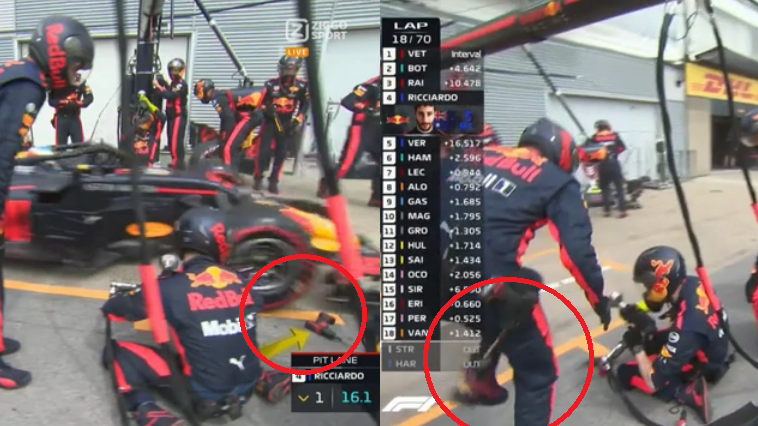 Daniel Ricciardo Fires Wheel Gun At Crew During Pit Stop