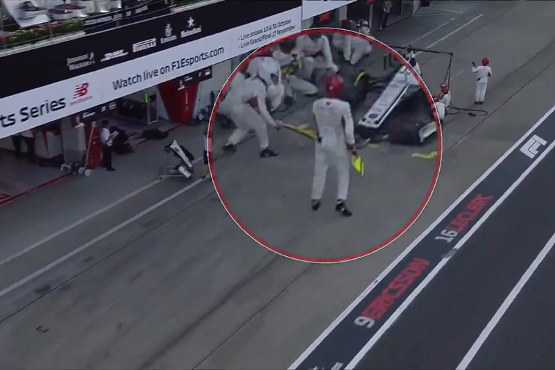 Pit Crew Member Accidentally Blocked Charles Leclerc During Pit Stop