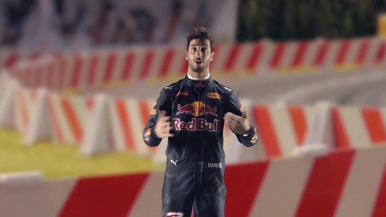 Daniel Ricciardo laps the Red Bull Ring in a slot car