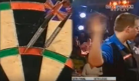 Adrian Lewis hitting a Blind 180