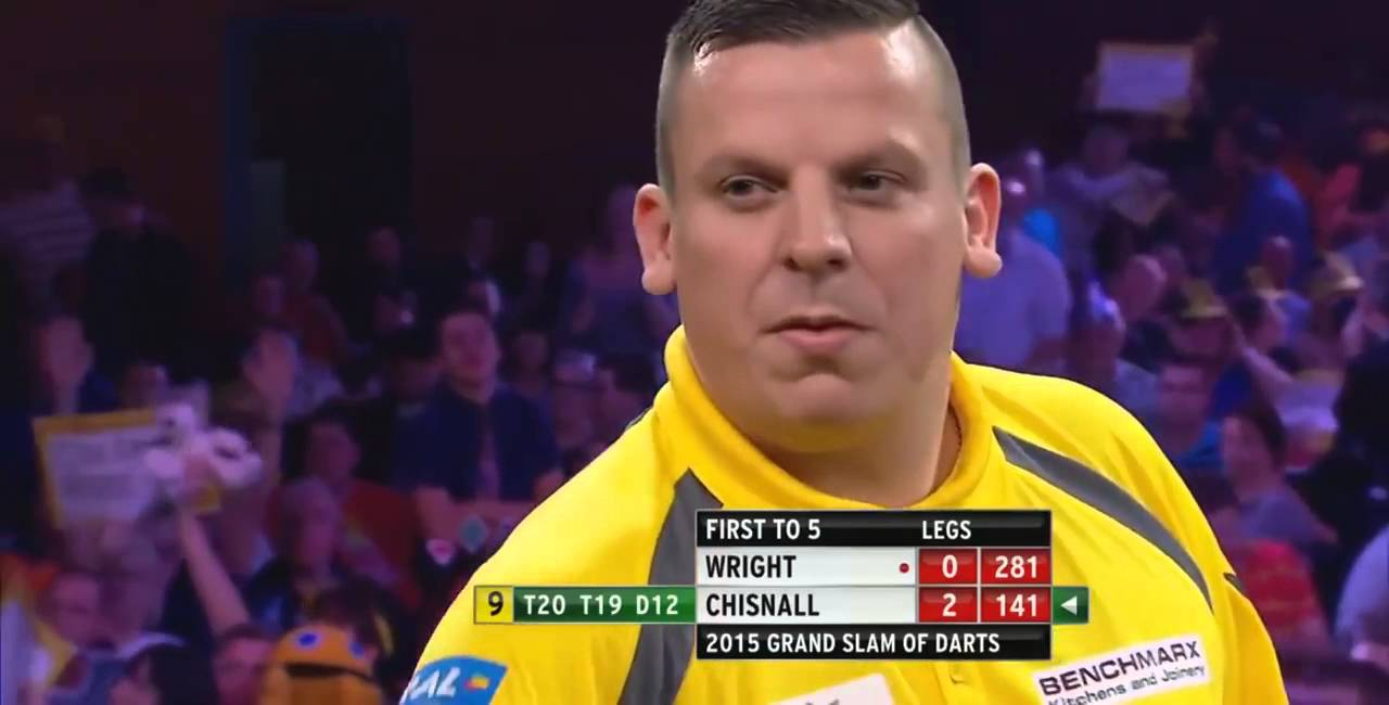 9 Dart Finish – Dave Chisnall against Peter Wright – Grand Slam of Darts – 8 November 2015