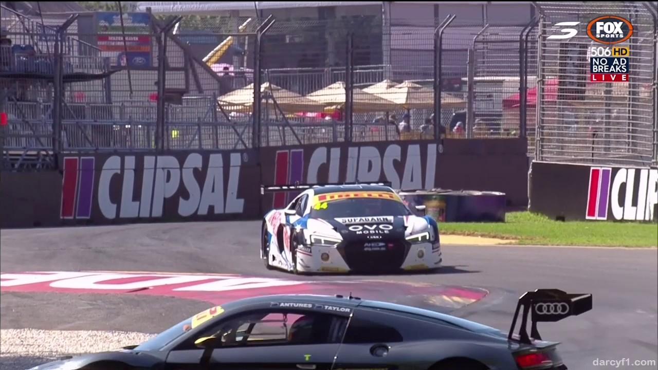 Australian GT Championship 2017. Race 1 Adelaide Street Circuit. Nathan Antunes Crash