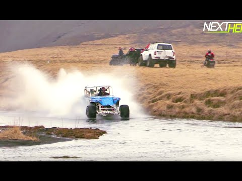 V8 Land Rover Hydroplaning 1001 feet in Iceland!