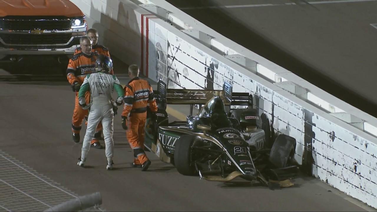 IndyCar Series 2017. S4 Open Test at Phoenix International Raceway. J.R. Hildebrand Crash