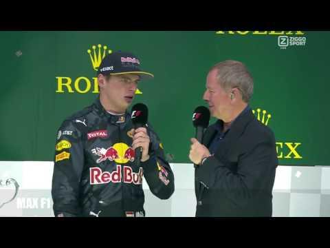 Max Verstappen na prijsuitreiking GP F1 Brazil 2016