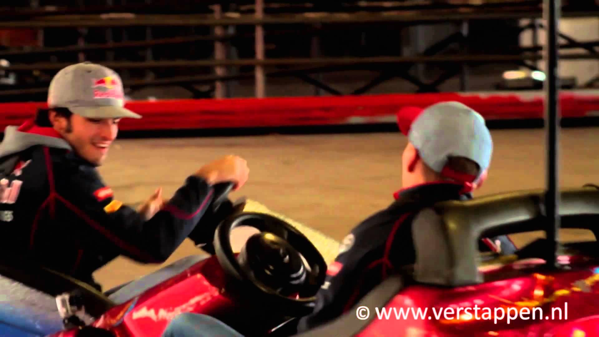 Behind the scenes at Tibidabo, with Max Verstappen and Carlos Sainz, in Barcelona (17/02/2015)