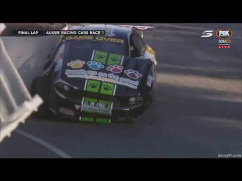 Aussie Racing Cars Championship 2017. Race 1 Adelaide Street Circuit. C.Thompson & G.Thompson Crash