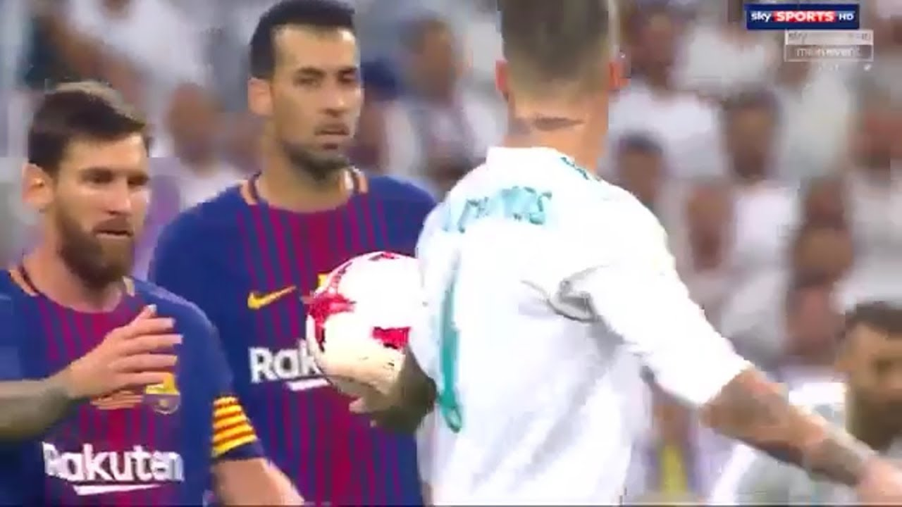 Sergio Ramos Trolling Lionel Messi 16/08/2017 – Real Madrid vs Barcelona