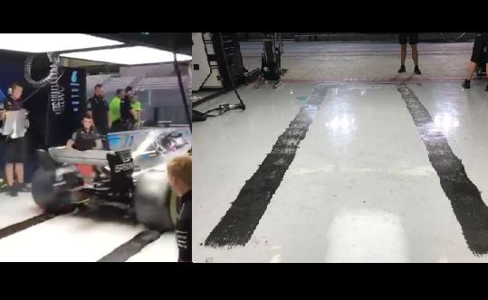 Valtteri Bottas Does A Massive Burnout In Mercedes Garage