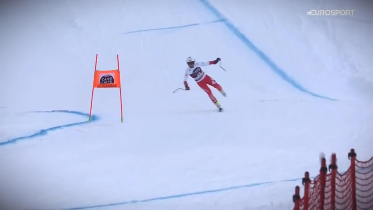 Pawel Babicki One Ski Finish In Downhill of Bormio