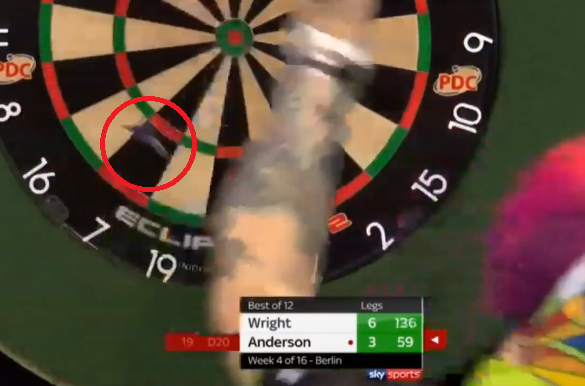 Gary Anderson Almost Hits Peter Wright In His Arm