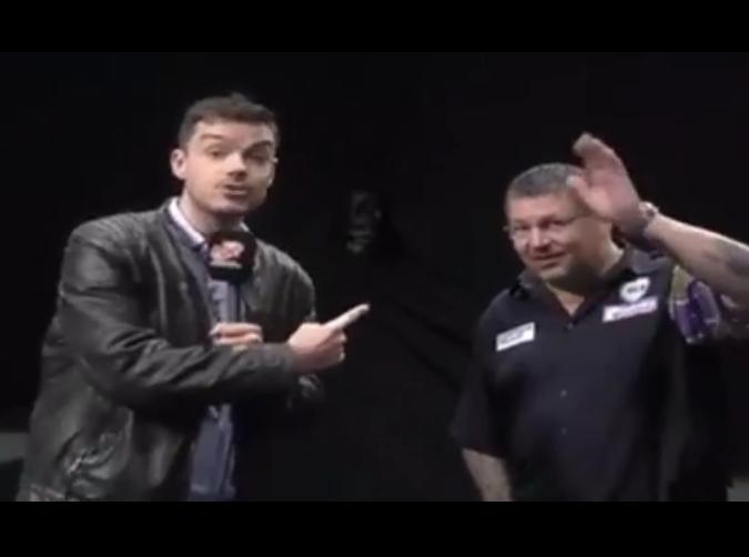 Gary Anderson Says Hello To Michael van Gerwen
