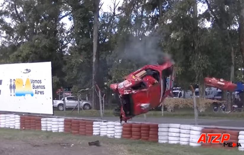 Brake Failure Crash Over Barrier In Argentinia [02-04-2018]