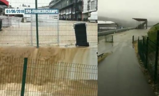 Massive Flood At Spa Circuit In Belgium After Heavy Rain