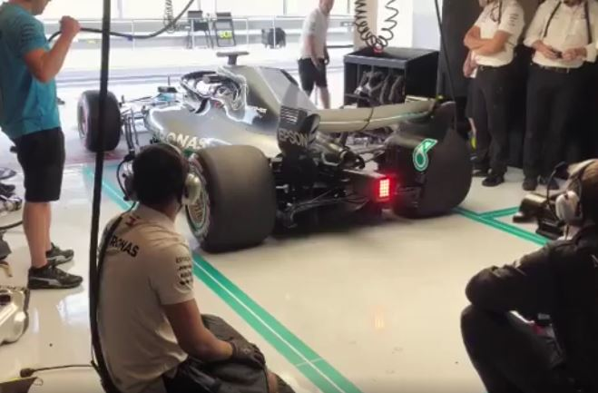 Valtteri Bottas Drifting Out of His Pit Box During Abu Dhabi Test Day 2