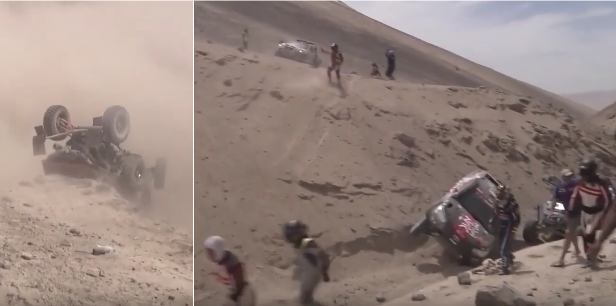 Multiple Cars Roll And Get Stuck During Dakar at Morocco