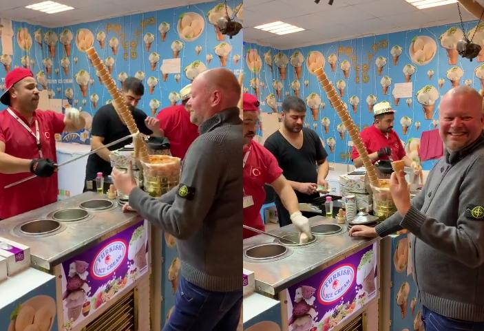 Turkish Ice Cream Man Making Fun of Raymond van Barneveld