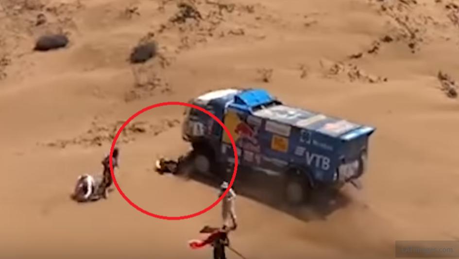 Shocking Footage: Spectator Run Over By Truck During Dakar