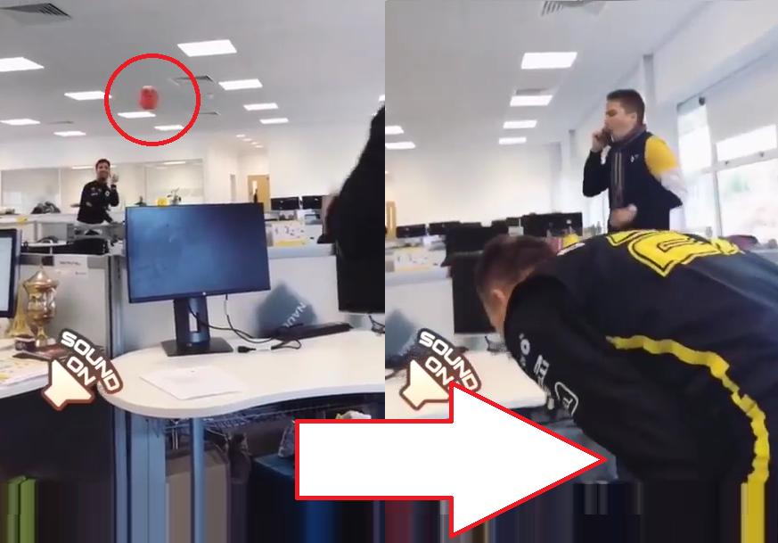 Daniel Ricciardo Hits Nico Hulkenberg In The Balls At Renault Office