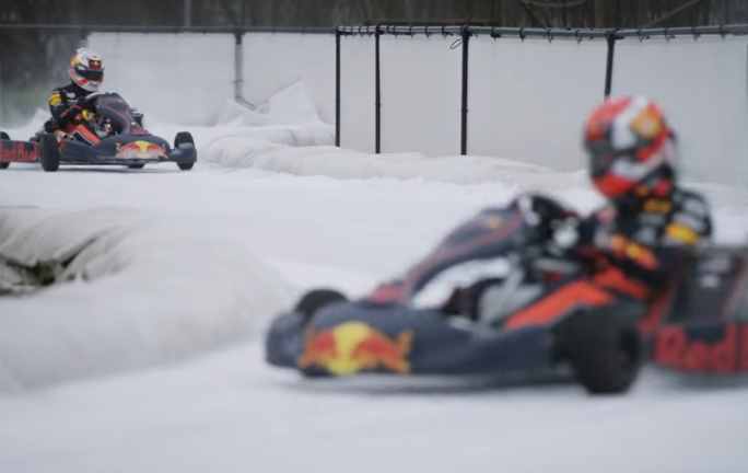 Max Verstappen and Pierre Gasly Go Karting On Ice