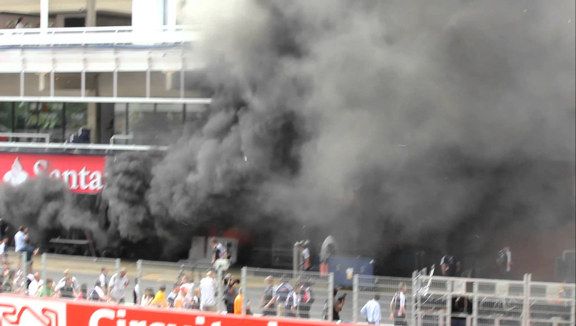 Today's Pit Box Fire At McLaren Reminds Us Of The 2012 Barcelona Fire