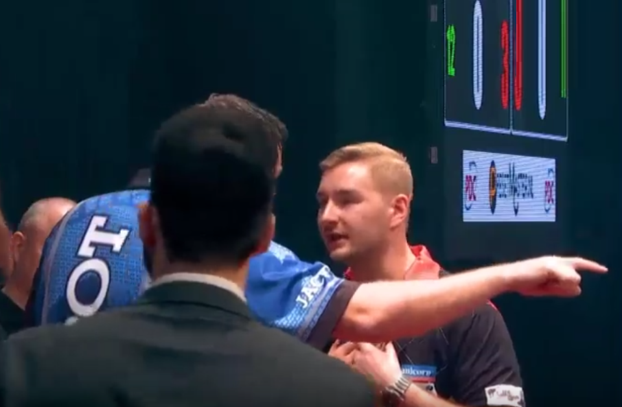 Incident Between Adrian Lewis and Dimitri van den Bergh at European Open