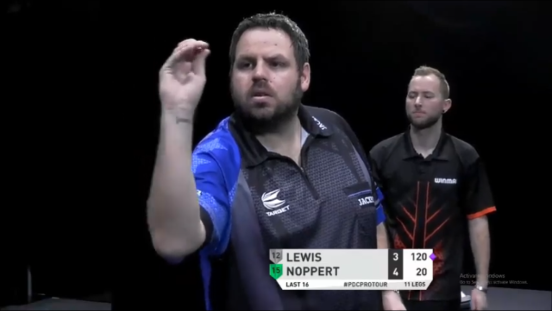 Adrian Lewis Hits Awesome 120 Bull Bull Exhibition Shot