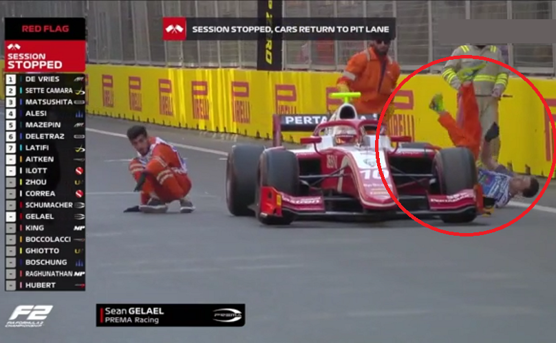 Two Marshalls Got Run Over By F2 Driver In Baku Today