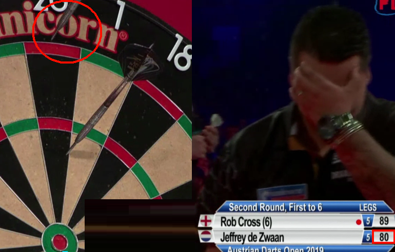 VIDEO: Jeffrey de Zwaan Missed The Dartboard At Crucial Moment