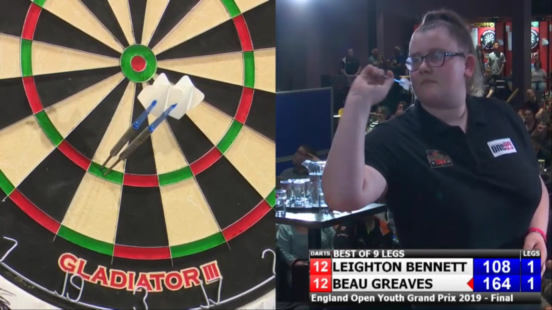 Leighton Bennett vs Beau Greaves at England Open Darts Youth Final 2019