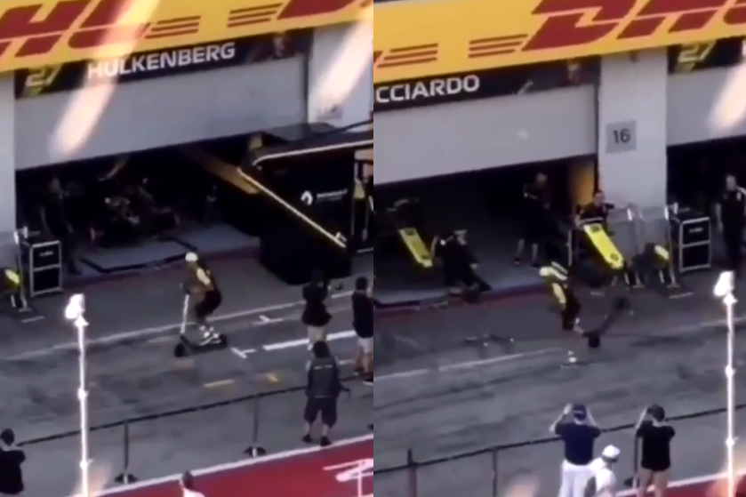 Daniel Ricciardo's Stoppie Attempt At Scooter in Pit Lane Goes Wrong