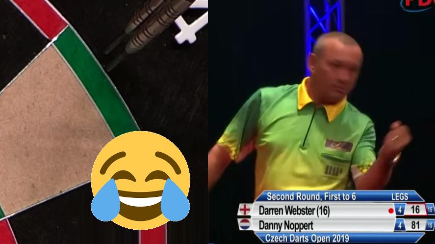 Darren Webster Celebrating A Missed Double At Czech Darts Open
