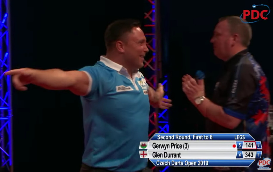 Gerwyn Price Hits 9-Darter In Last Leg Against Glen Durrant at Czech Darts Open
