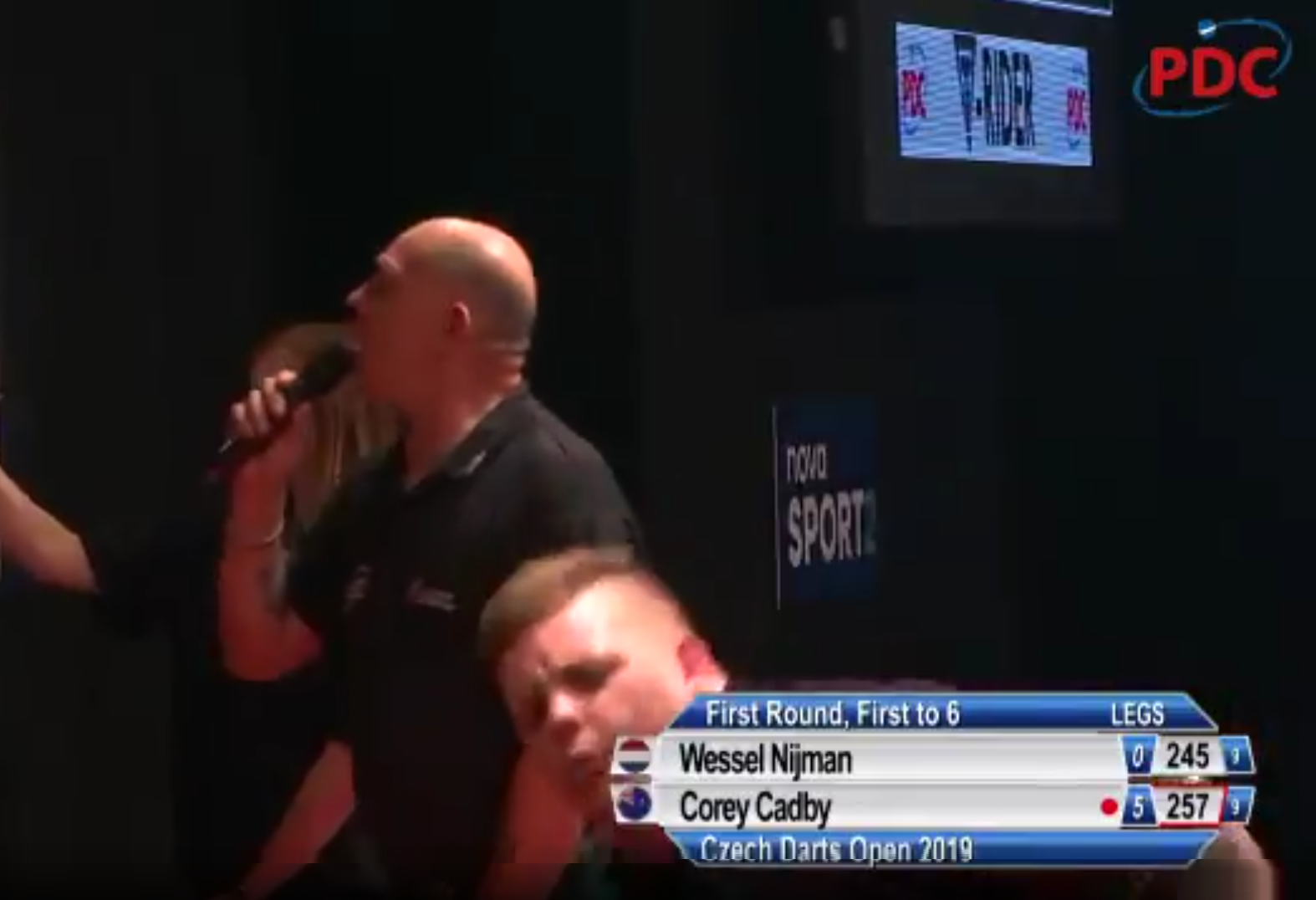 Corey Cadby Trips And Falls Off Oche During Czech Darts Open
