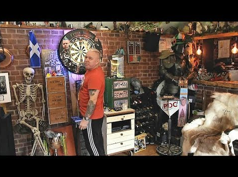Peter 'Snakebite' Wright Showing His Man Cave At Home