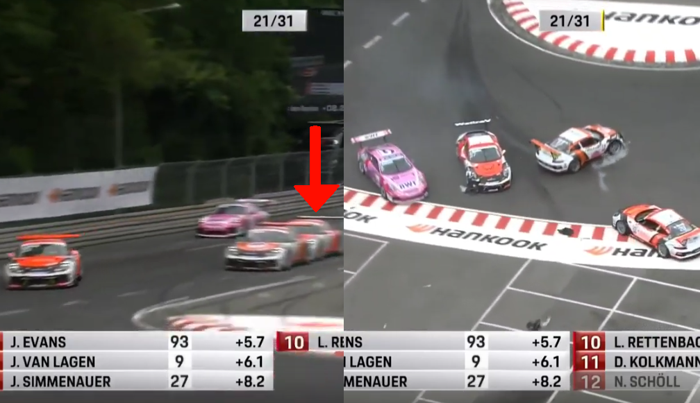 Top 3 Leaders Crashing During Porsche Carrera Cup Deutschland 2019