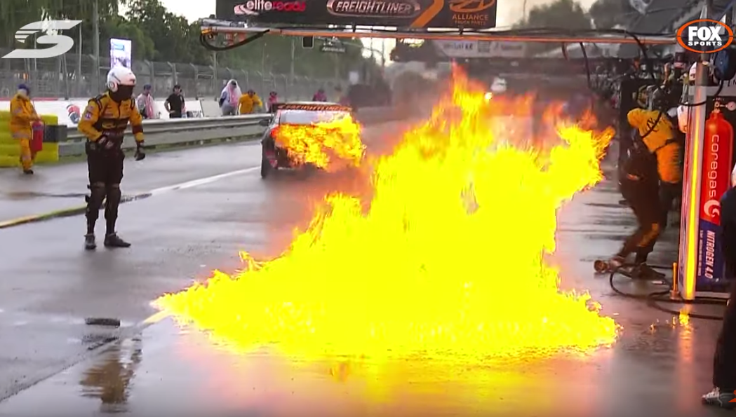 Massive Fire In Pitlane During 2019 Watpac Townsville 400