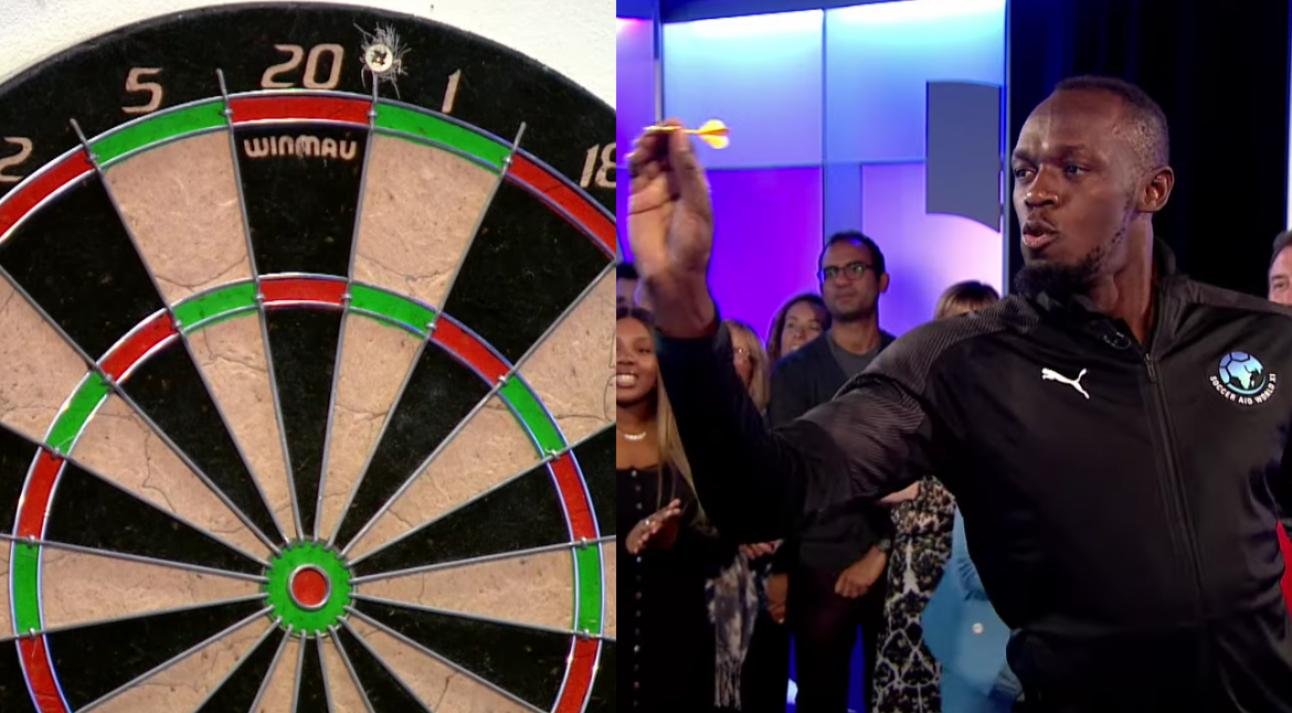 Watch Usain Bolt Taking On A Challenge At The Dartboard