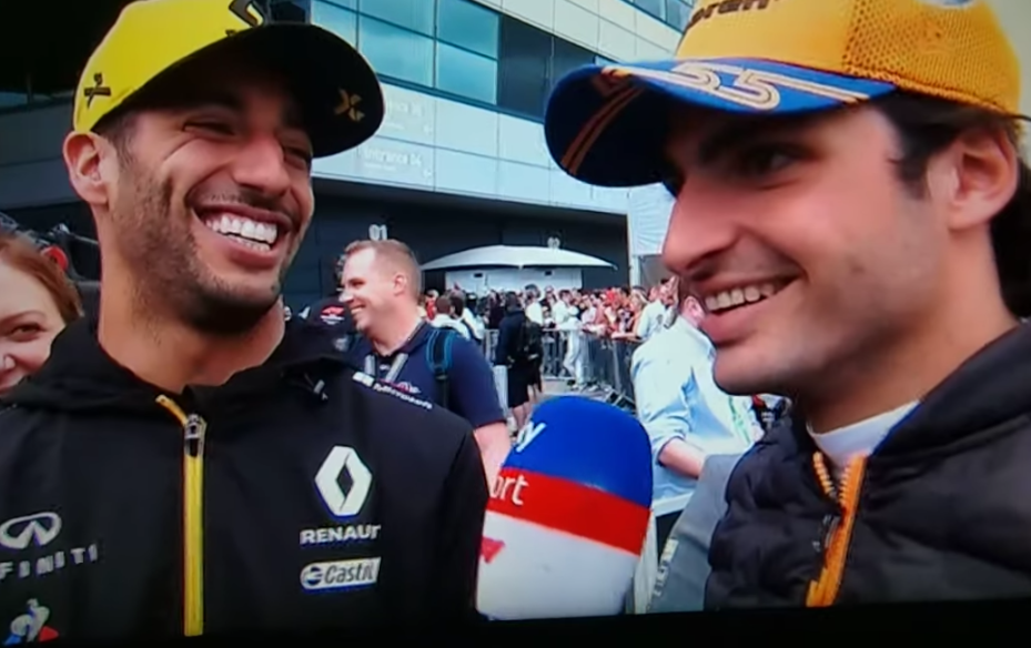 Funny Moment Between Ricciardo And Sainz After British Grand Prix