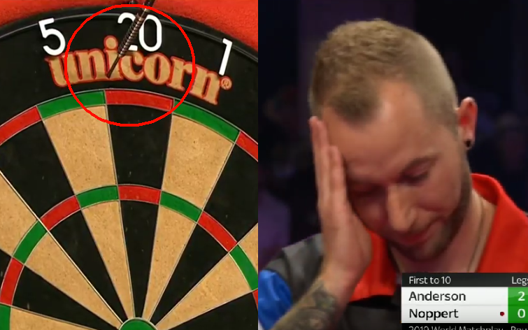 Danny Noppert Missed The Dartboard At World Matchplay 2019