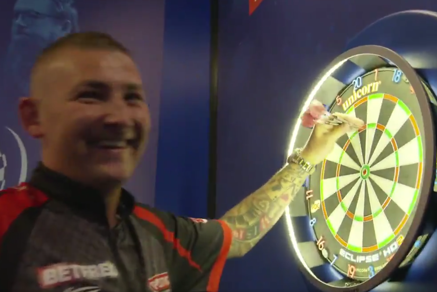 Watch Nathan Aspinall Finish His Nine-Dart Challenge In Style