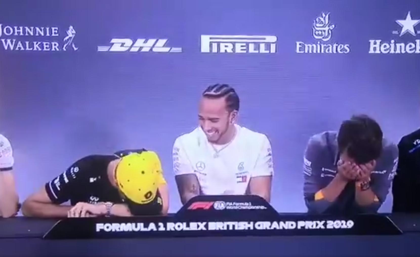 Lando Norris And Daniel Ricciardo Having Fun At Press Conference