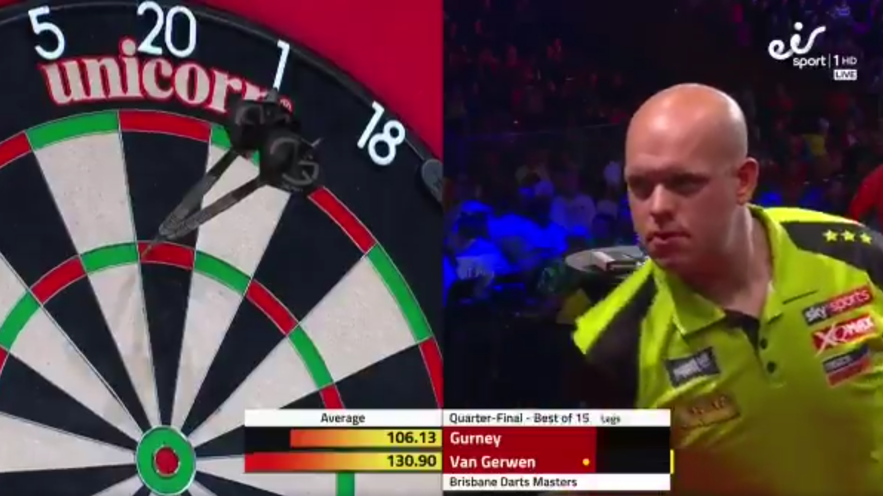 Watch Last Darts Van Gerwen v Gurney In Quarter Final Brisbane Masters