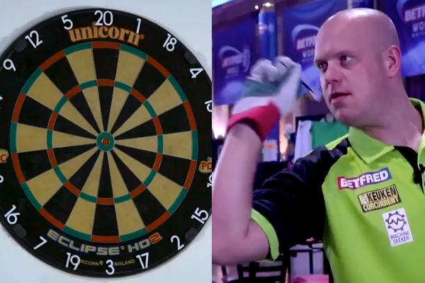Michael van Gerwen Plays A Game Of Darts With Heavy Duty Gloves