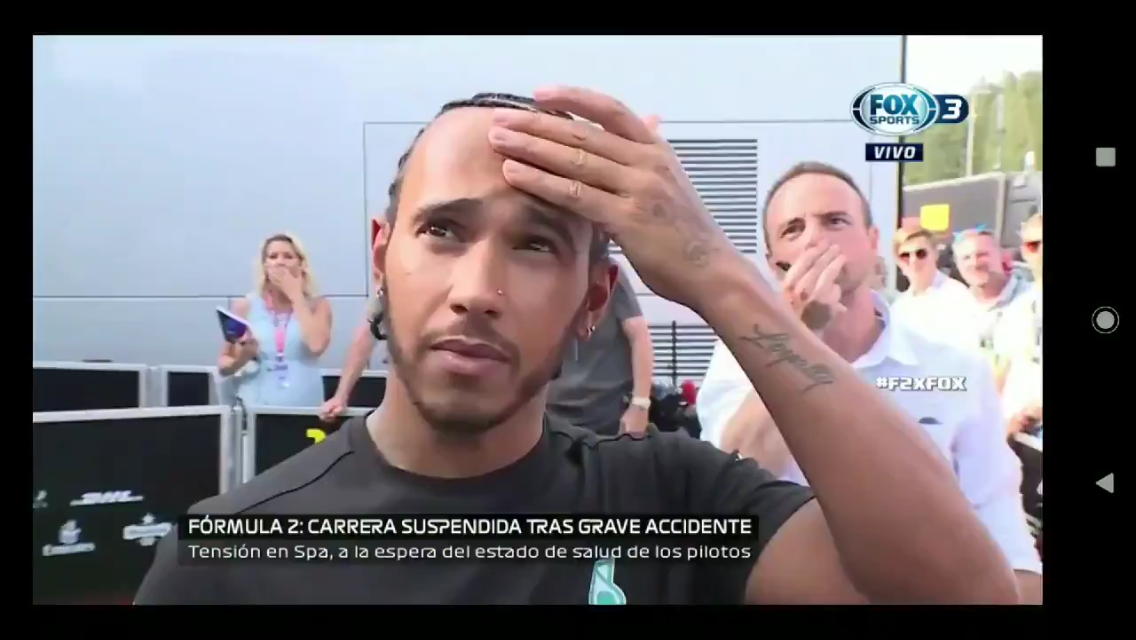 VIDEO: Lewis Hamilton's Reaction Watching Hubert's Crash During His Interview