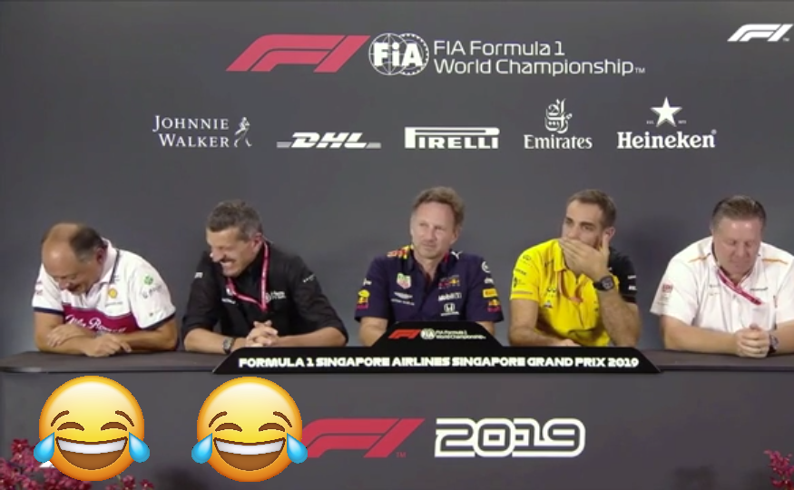 Fred Vasseur and Günther Steiner Having Fun During Press Conference