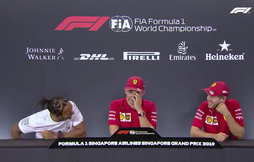 """Hilarious Moment Between Vettel And Hamilton On """"Bullsh*t Reversed Grid"""""""