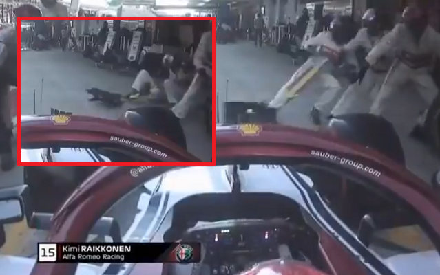 VIDEO: Kimi Raikkonen's Drama Pit Stop During Russian Grand Prix