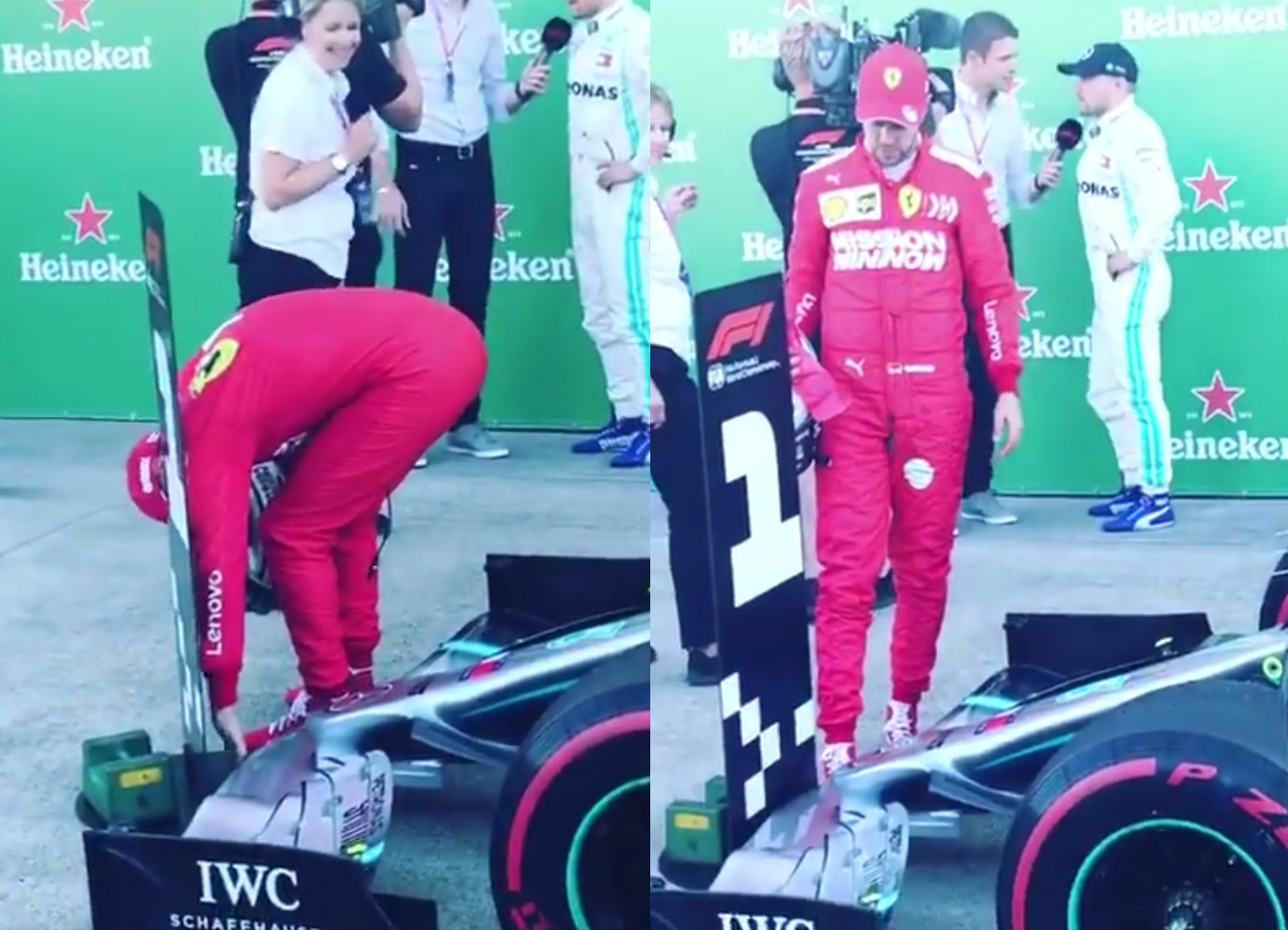 VIDEO: Sebastian Vettel Watching And Touching Mercedes Front Wing